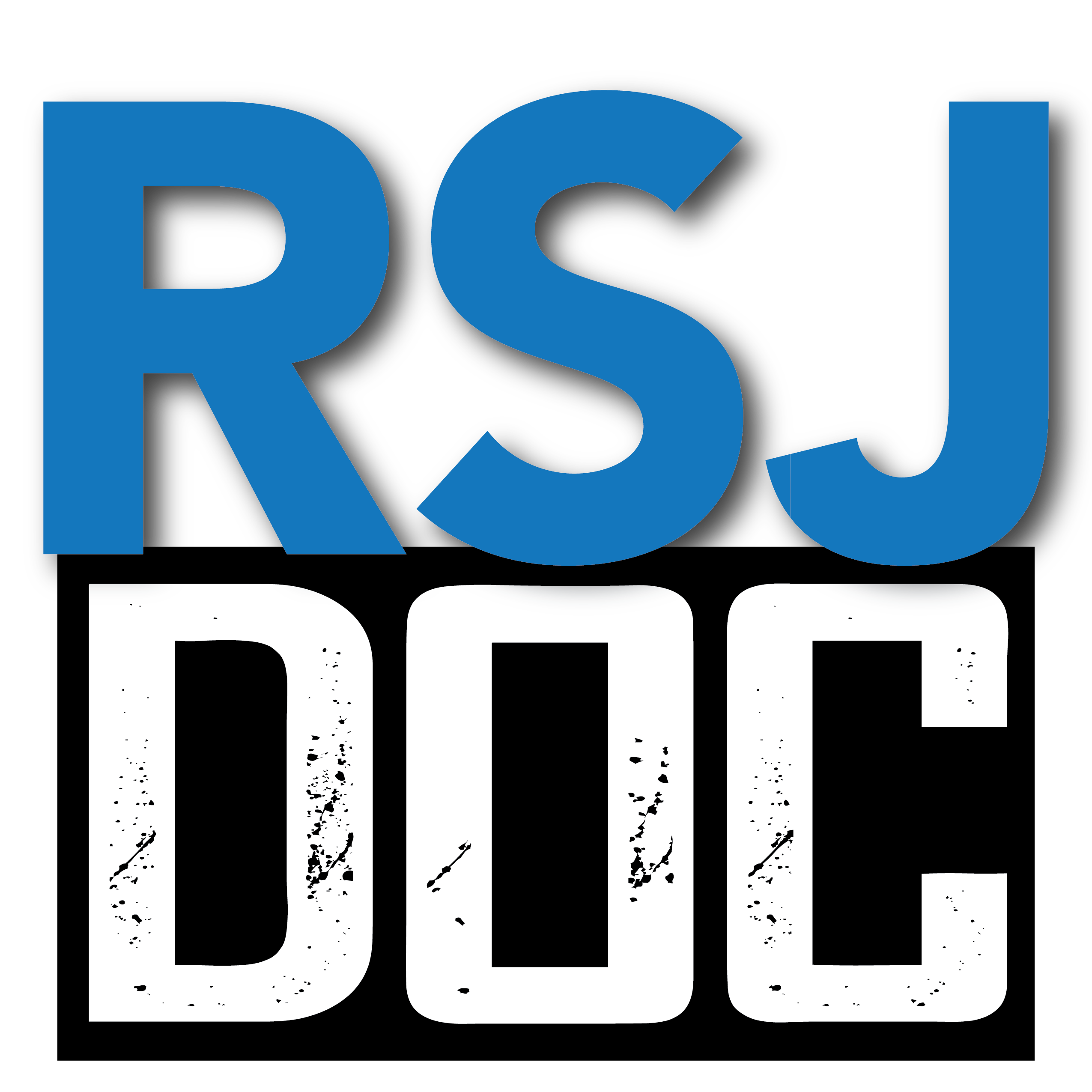 'RSJ' is written in blue font, with 'DOC' in white font, in front of a black outline.
