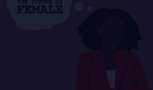 A graphic of someone in front of a purple background with a though bubble that says 'THE FUTURE IS FEMALE'. There is a dark overlay over the image.
