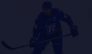 A photo of Alex Basso on the ice, wearing a blue jersey with an 'R' as the logo. There is a dark overlay over the image.