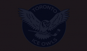 A logo that says 'TORONTO ICE OWLS' in white, with a white bird inside a blue circle. There is a dark overlay over the image.