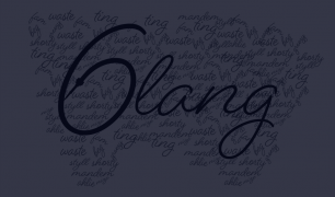 '6lang' is written in black, cursive text, with other words in smaller text behind it. There is a dark overlay over the image.