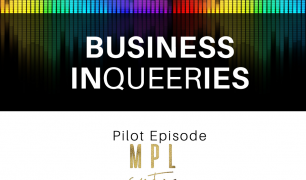 'BUSINESS INQUEERIES' is written in white text with a range of colours in the background. Below, 'Pilot Episode' is written in black text, with the date of December 2.