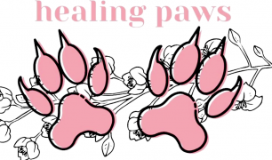 In pink font, 'healing paws' is written, with two pink paws below, in front of a sketch of flowers.