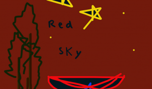 'Red Sky' is drawn in blue, on a red background. There are also drawings of stars in yellow, trees in green and a boat in red.