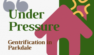 'Under Pressure' is written in green text, with 'Gentrification in Parkdale' written below in brown. There is a pink graphic of a house and the background is white and green.